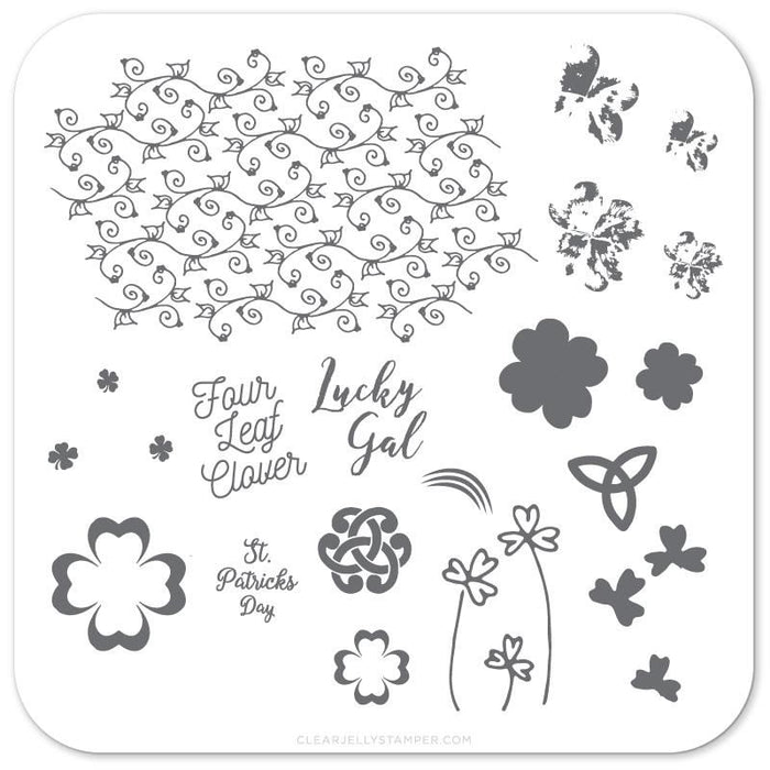 Clear Jelly Stamper- H-18- Four Leaf Clover