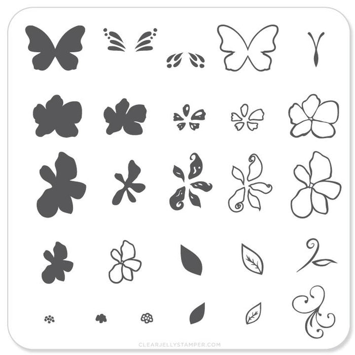 Clear Jelly Stamper- CjS-001- Flower & Butterfly