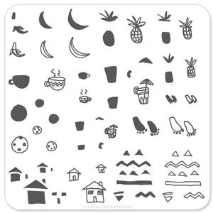 Clear Jelly Stamper- CjS-020- Summer Drinks and Fruit Doodle
