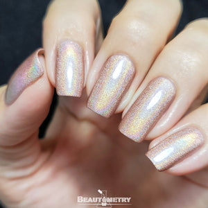 beige holographic nail polish