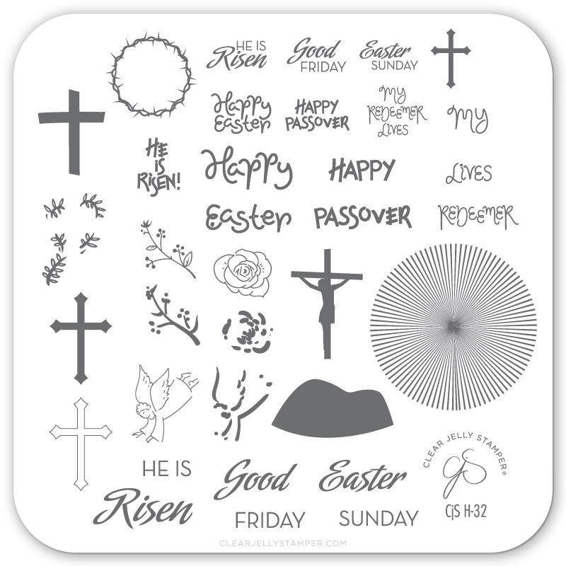 Clear Jelly Stamper- H-32- He is Risen