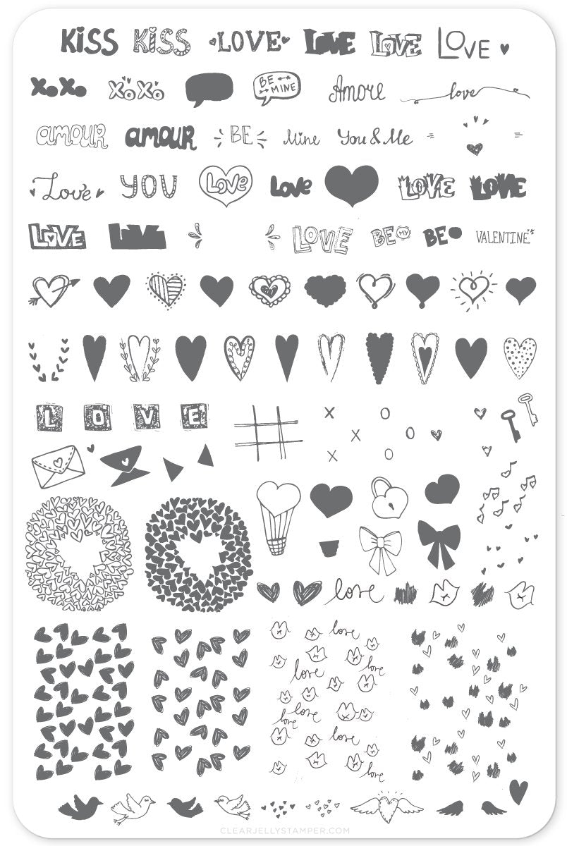 Clear Jelly Stamper- V-12- LoVe Notes