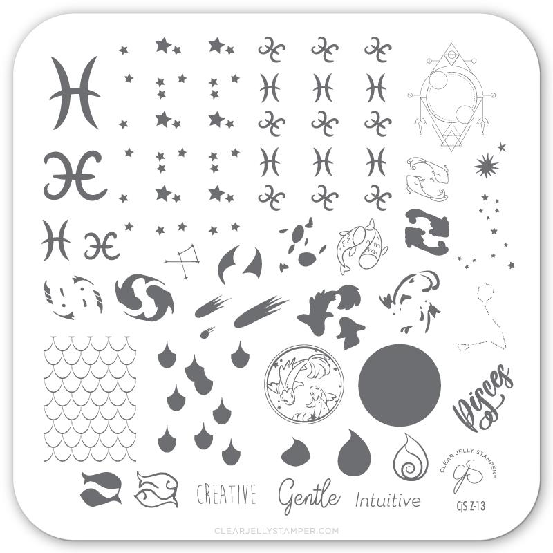 Clear Jelly Stamper- Z-13- Pisces
