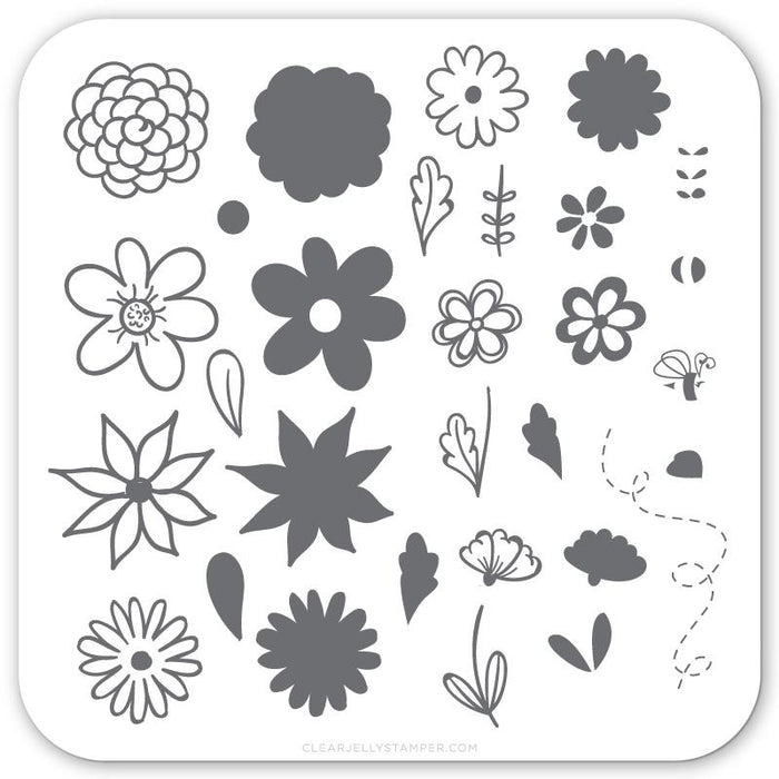 Clear Jelly Stamper- CjS-065- Petals on Point