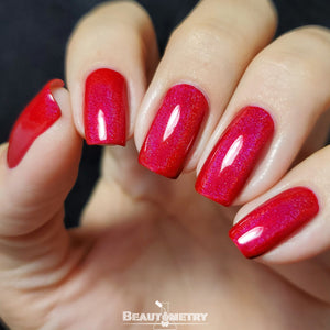 crimson red holographic nail polish