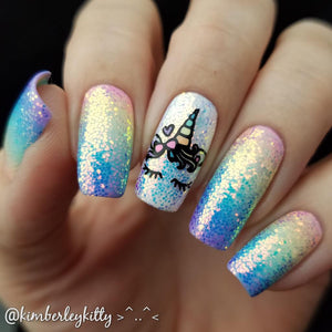 unicorn manicure dixie nail stamping plate