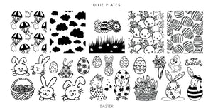 Dixie Plates Easter 2019 nail stamping plate. Available in the USA and Canada at Beautometry.com.