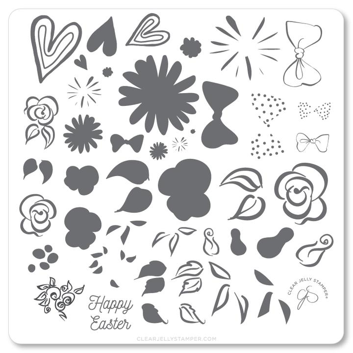 Clear Jelly Stamper- H-54- Easter Egg Dainty Decals