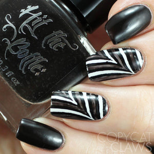 hit the bottle black nail polish nail art