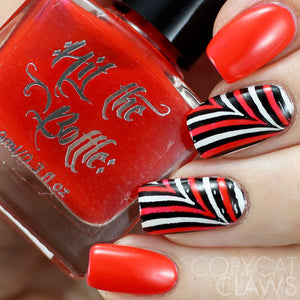 hit the bottle red nail art