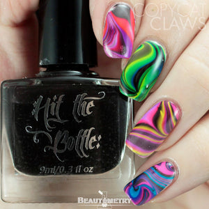 hit the bottle jelly shots nail polish watermarbling