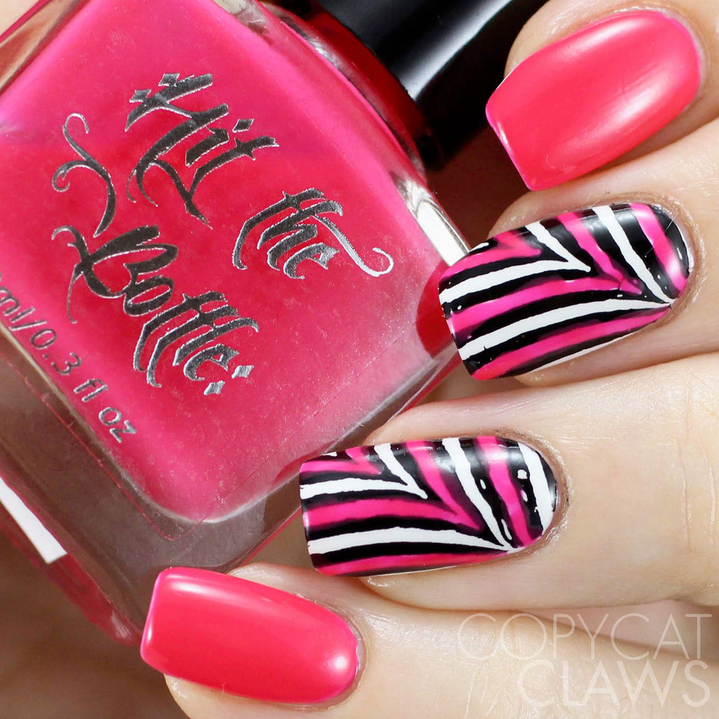 hit the bottle pink nail art