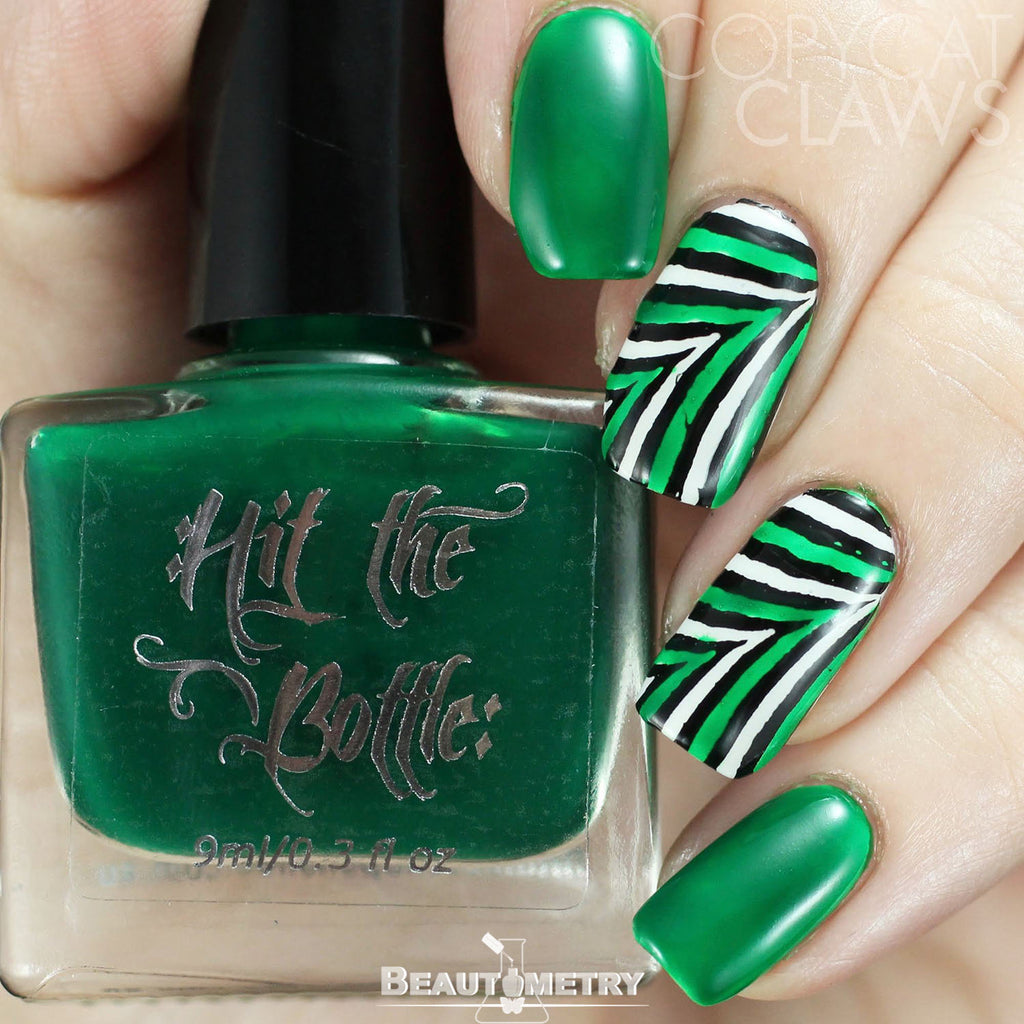 hit the bottle green jelly nail polish