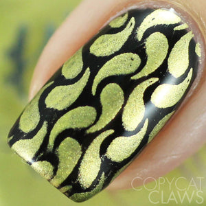 yellow chrome nail stamping polish