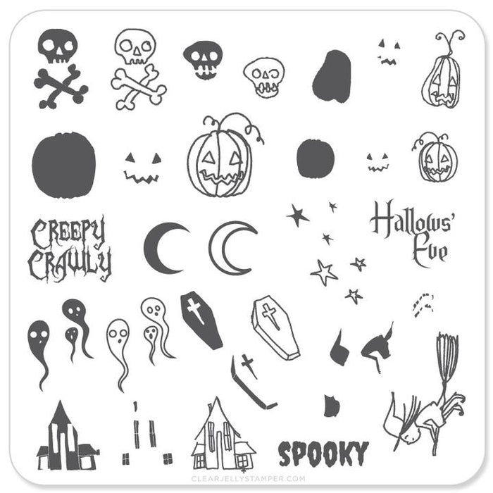 Clear Jelly Stamper- H-05- Halloween Spooky