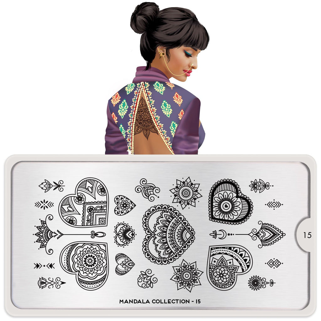 MoYou London Mandala 15- Heart nail stamping plate. Available at www.beautometry.com.
