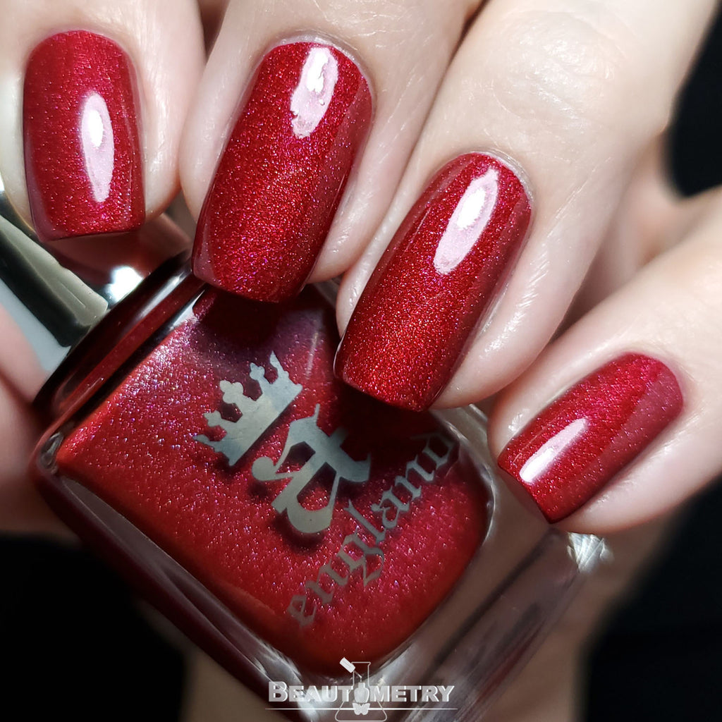 nevermore red holographic nail polish