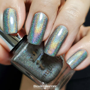 pallas grey holographic nail polish