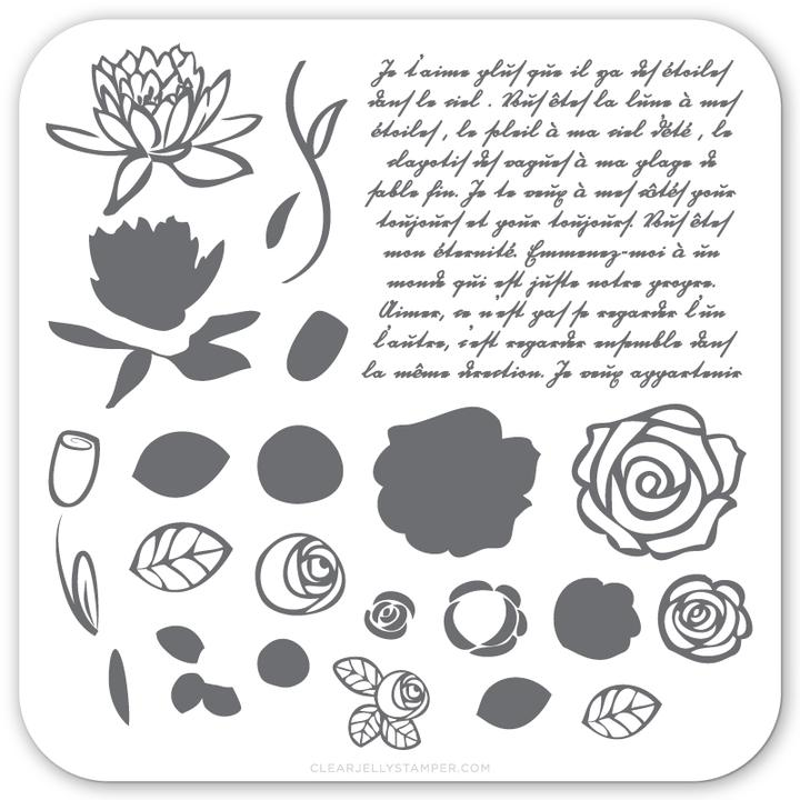 Clear Jelly Stamper- CjS-002- Simple Rose & Script