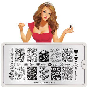 MoYou London Princes 19 Nail Stamping Plate. Available in the US at www.beautometry.com.