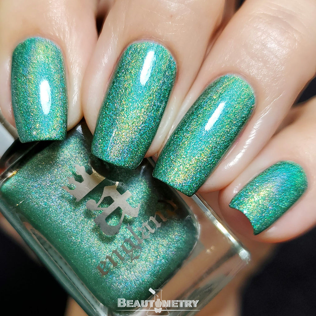 punk green holographic nail polish