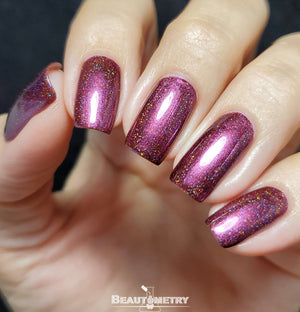 plum holographic nail polish