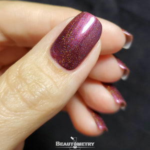 wikkid red plum holographic nail polish