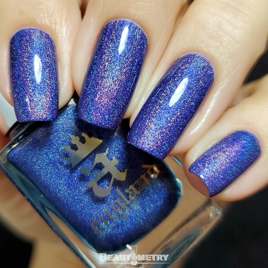 indigo blue holographic nail polish