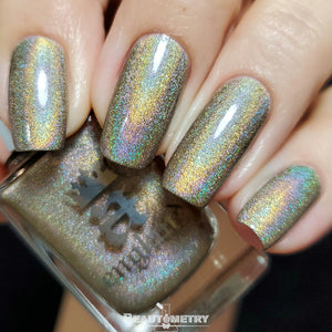 swinging london olive green holographic nail polish