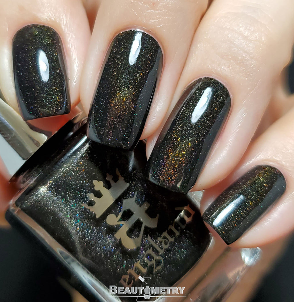 the raven black holographic nail polish