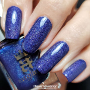 tristam navy blue holographic nail polish