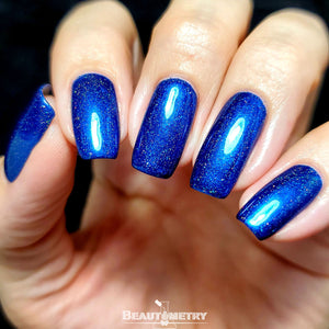 electric blue holographic nail polish