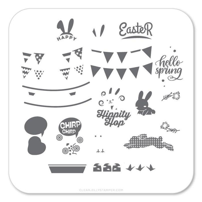 Clear Jelly Stamper- H-12- Hippity Easter