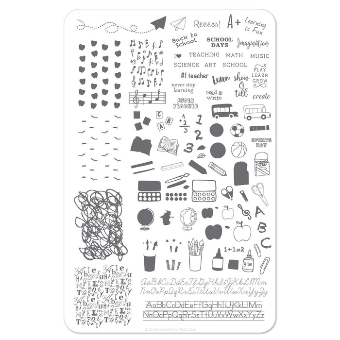 Clear Jelly Stamper- CjS-044- Back to School Primary