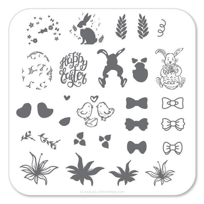 Clear Jelly Stamper- H-10- Bitty Bunnies 'n Blooms
