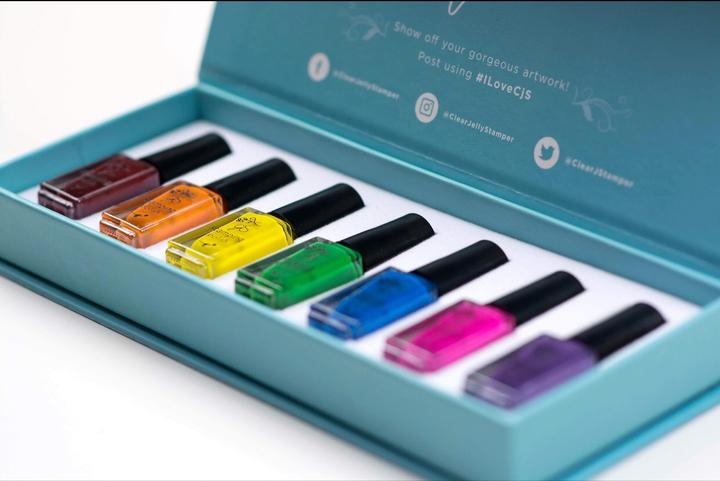 Clear Jelly Stamper- Stamping Polish- Rainbow Kit (7 colors)