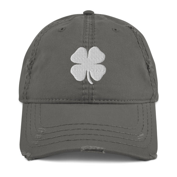 Distressed Hat - Lucky Four Leaf Clover