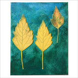 Original Artwork: Glory XIV two yellow one small colorful leaf
