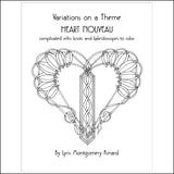 Heart Nouveau Digital Download Coloring Pages