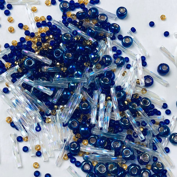 Beautiful Bag of Beads: cobalt, clear, gold