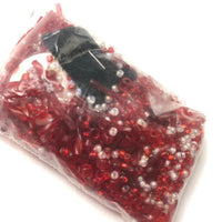 Beautiful Bag of Beads: transparent red and opaque white
