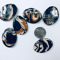 6 Marbled Polymer Clay Cabochons