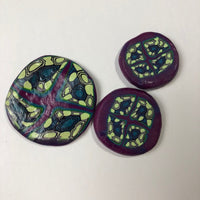 4  Miscellaneous Marbled Polymer Clay Cabochons, purple and lime green