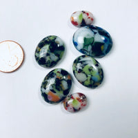 6 Fused Glass Cabochons