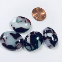 4 Fused Glass Cabochons, red and white mottled