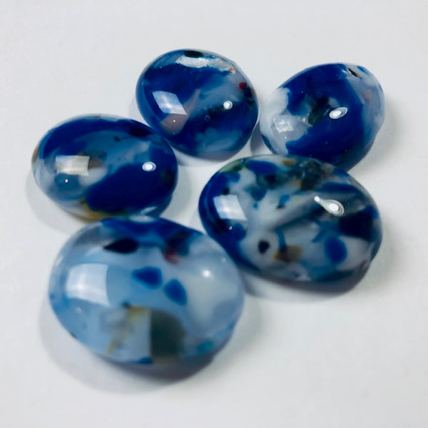 5 Fused Glass Cabochons, blue, white mottled