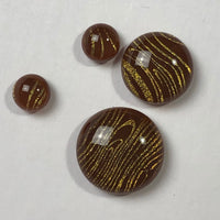 4 Dichroic Glass Cabochons, amber and gold