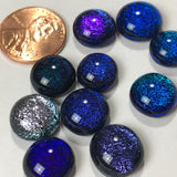 10 Dichroic Glass Cabochons, blue, purple, silver and sparkly