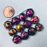 12 Dichroic Glass Cabochons, pink, orange, green and gold and sparkly