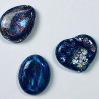 3 shaped Dichroic Glass Cabochons, blue, silver, pink